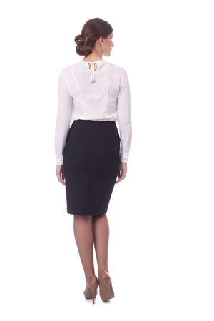pretty young girl wearing black formal skirt and white blouse