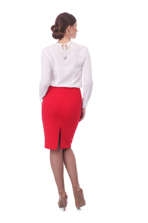 pretty young girl wearing red formal skirt and white blouse Banco de Imagens