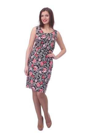 pretty young woman wearing floral printed dress