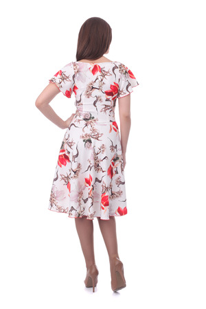 pretty young woman wearing floral dress