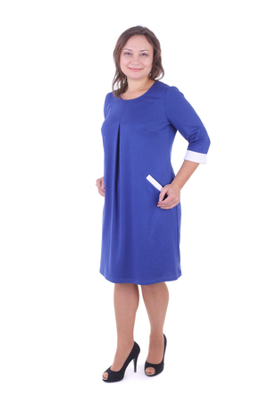 pretty young woman wearing blue dress Stock Photo