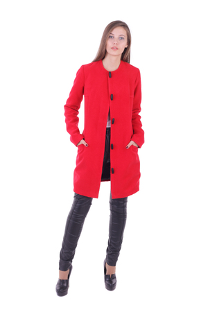 pretty young girl wearing red coat