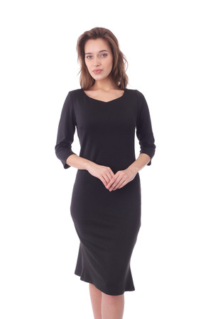 pretty young woman wearing black dress