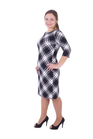 pretty young woman wearing checkered dress Standard-Bild - 100128488