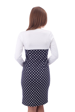 pretty young woman wearing combined polka dot dress