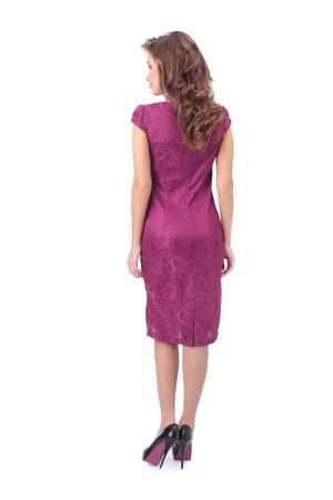 pretty young woman wearing pink dress