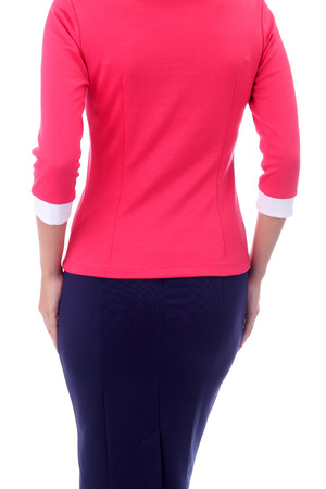 pretty young girl wearing pink blouse and blue skirt