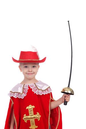 cute little boy wearing musketeer carnival costume Stock Photo