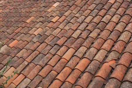 brown color tiled roof closeup Standard-Bild