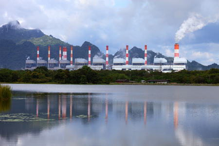 coal plant: Power Plant with reflection on the water Stock Photo