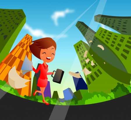 schoolgirl runs through city