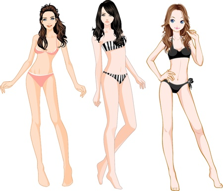 sexy girl bikini: Bikini Girls Illustration