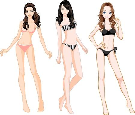 Bikini Girls Illustration