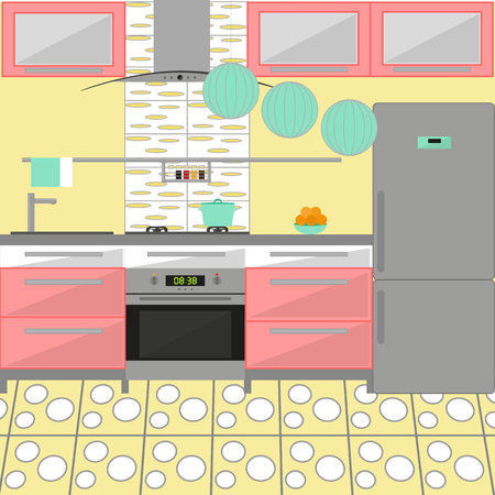 Kitchen interior with furniture. Including stove, fridge, cooker hood, oven, pot, fruits. Flat style. Vector illustration.