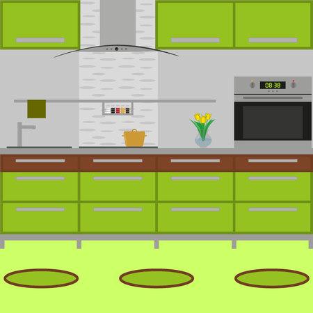 Interior de cocina con muebles. Incluye estufa, horno, olla, jarrón con flor, alfombras pequeñas. Estilo plano. Ilustración de vector. Ilustración de vector