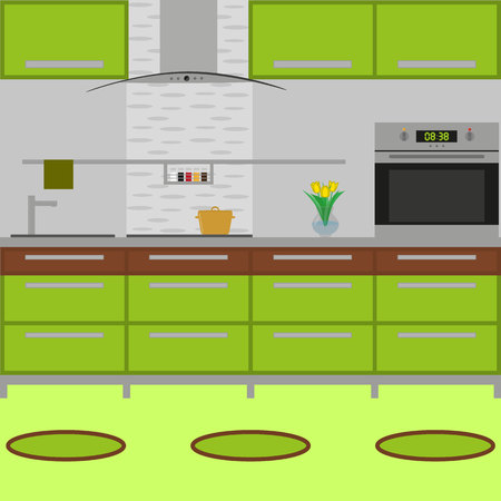 Kitchen interior with furniture. Including stove, oven, pot, vase with flower, little carpets. Flat style. Vector illustration.