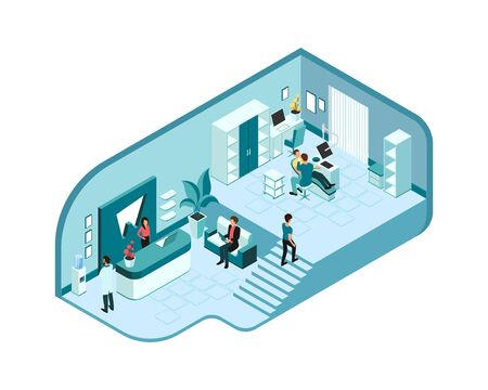 Isometric interior of modern dentist s clinic with doctors and patients.