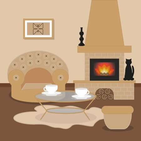 Cute living room interior design with fireplace, sofa, furniture, vase, picture with butterfly, tea table.