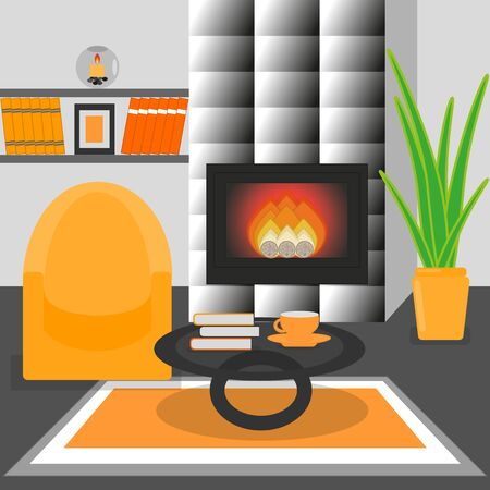 Cute living room interior design with fireplace, furniture, bookshelf, vase with flowers, books, candle, armchair.