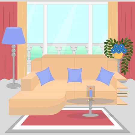 Cute living room interior design with furniture, big window, balcony, vase with flowers, candle. Modern interior. Foto de archivo - 131597706