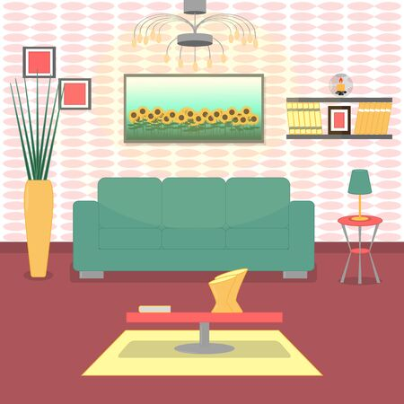 Cute living room interior design with furniture, bookshelf, vase with flowers, books, picture. Modern interior. Illustration