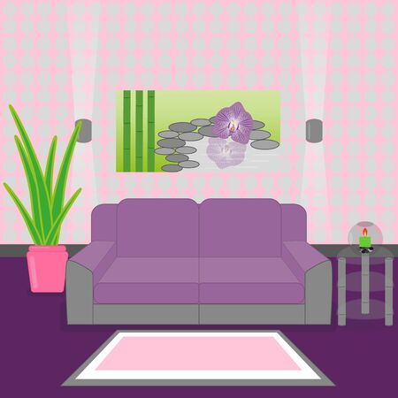 Cute living room interior design with furniture, vase with flowers, candle, pictures and carpet.