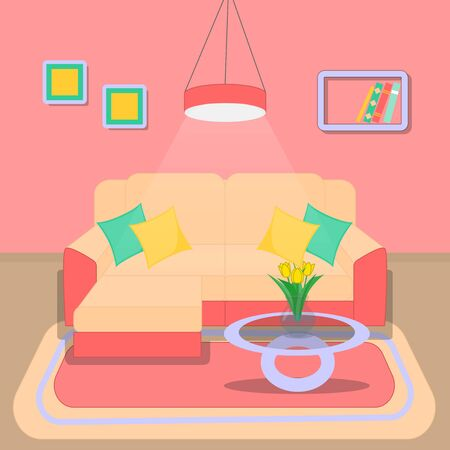 Cute living room interior design with furniture, bookshelf, vase with flowers, books, pictures in pink style.