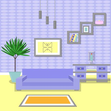 Cute living room interior design with furniture, bookshelf, vase with flowers, books, picture with butterfly and candle.