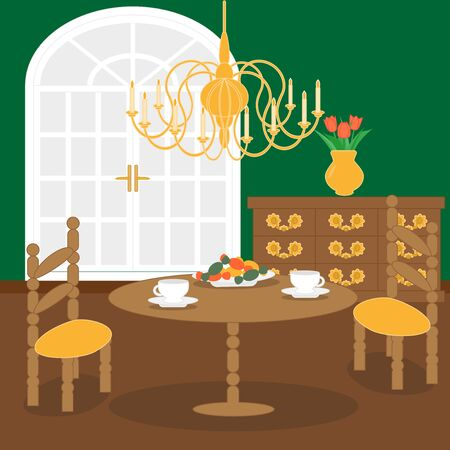 Cute living room interior design in retro style with furniture, big lamp, vase with flowers, table with chairs. Retro interior. Flat style. Vector illustration