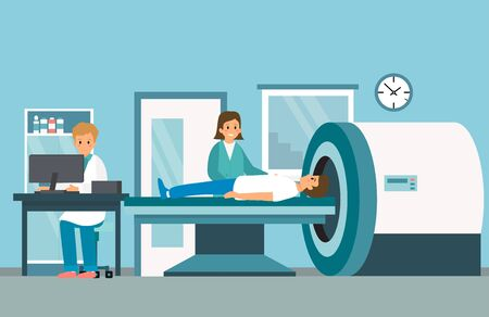 Magnetic resonance therapy . Doctor in is preparing patient for magnetic resonance imaging machine MRI computed tomography at hospital. Flat style. Vector Illustration Ilustracja