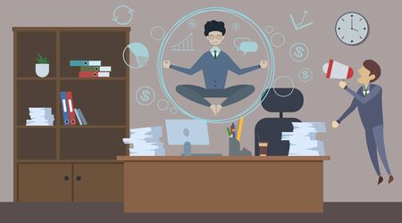 Bad angry boss shouting at employee with loudspeaker. Office man doing Yoga to calm down the stressful emotion.  イラスト・ベクター素材