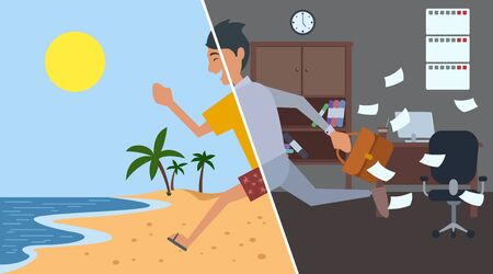 Business man running from office to summer beach. Flat style. Vector illustration.
