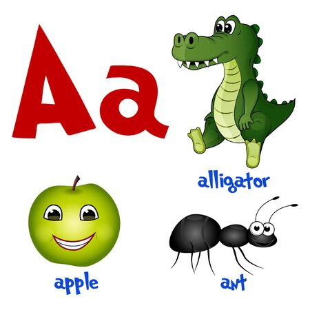 Vector cute kids cartoon alphabet. Letter A with alligator, apple and ant. Flat style. Vector illustration. Illustration