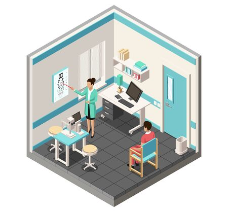 Isometric Medical concept. Ophthalmologist doctor is examining patients eyesight by Eye Chart Print. Medical healthcare concept. Vector Illustration.