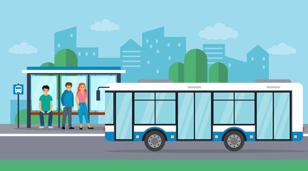People are waiting for the bus at the bus stop. The bus is arriving. Flat style. Vector illustration. Illustration