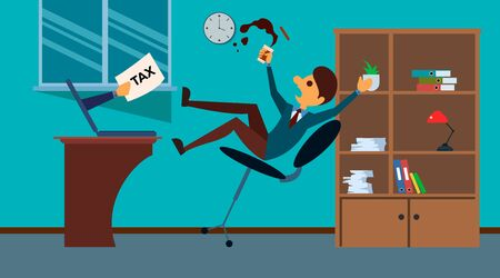 Scared businessman is falling down from armchair because of hand from inside of his computer with tax bill. Flat Style. Vector flat illustration