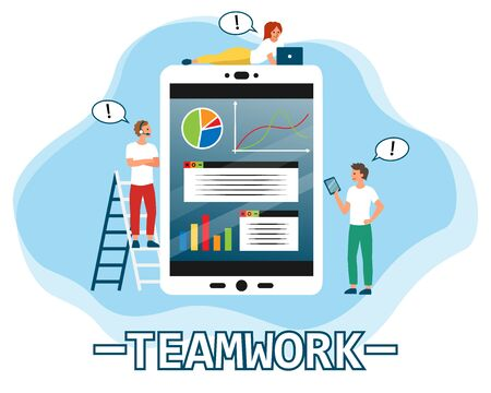 Business series teamwork concept. Little people characters make an online financial statement on the tablet. Flat style. Vector illustration.