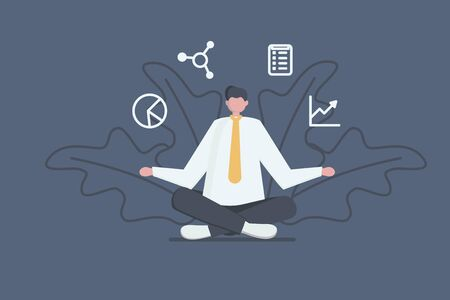 Business concept. Office manager sitting and meditating. Businessman relaxed calm in lotus pose.