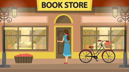 Librairie, façade de bâtiment de librairie avec fille. Beaucoup de livres sur les étagères. Beau vélo à proximité de l'immeuble. Vecteurs