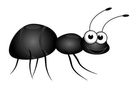 Friendly cute cartoon little ant isolated on a white background. Flat style.