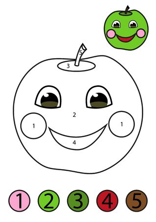Coloring concept. Funny friendly apple coloring page with number of color.
