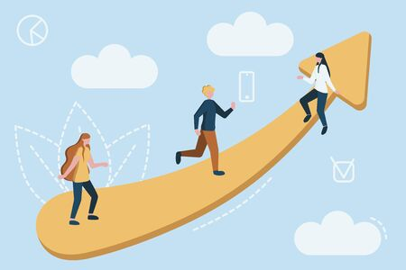 Vector teamwork concept. Little business people together trying to climb up stairway by indicator of growth and development in common business.