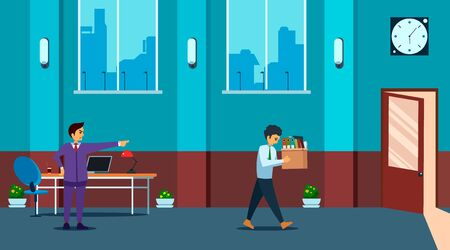 Angry boss pointing finger at door fired employee with paper documents box. Upset employee is going to exit. Flat style. Vector illustration.