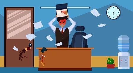 Stress at work concept. Upset young businessmen destroys laptop on his desk. Flat style. Illustration