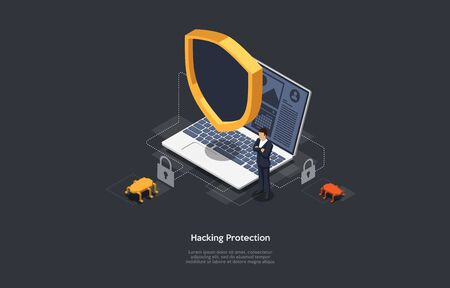 Isometric Internet hacker attack and personal data security concept. Computer security technology.