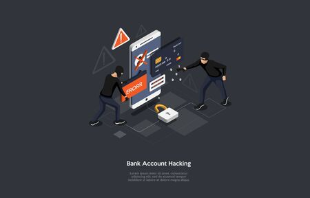 Isometric bank account hacker attack and personal data security concept. 矢量图像