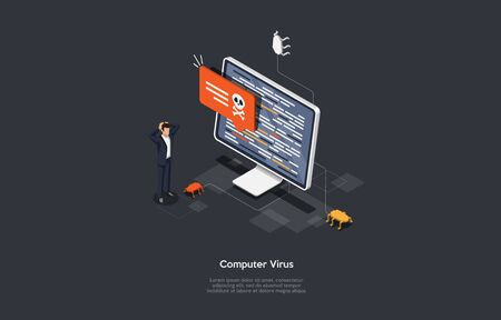 Isometric Virus protection concept. Internet security. Cyber attack on the computer.