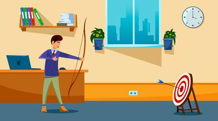 Business goal achievement concept. Successful businessman aiming target with bow and arrow. Flat style. Vector illustration. 일러스트