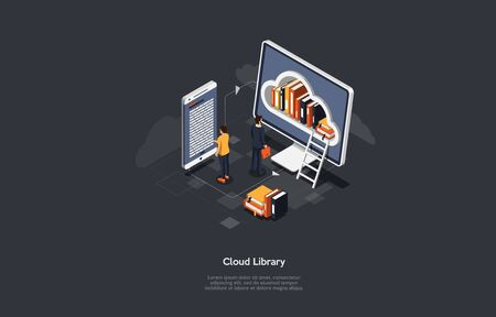 Isometric cloud library concept. Technology and literature. Digital ibrary web banner. People interact with digital books. Vector illustration.