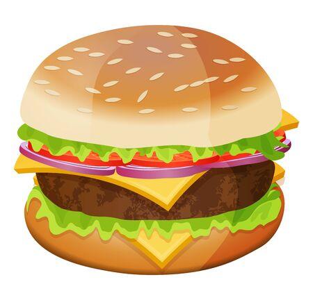 Cute cartoon hamburger isolated on a white background. Vector illustration.